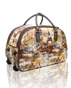 New Eiffel Tower Print Flight Approved Size Wheely Travel Holdall Holiday Bag