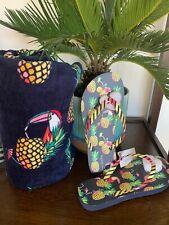 Vera Bradley Large Beach Towel, Flip Flop M 2pc SET Toucan Party Spring 2020