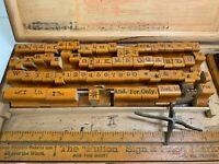 Antique Rubber Stamp Printing Set Stamping Wood Box Fulton Sign & Price Marker