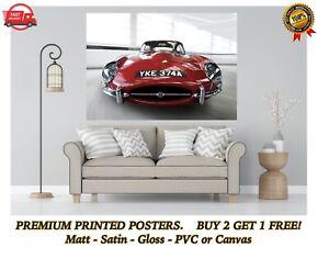 Jaguar E-Type Vintage Classic Car Large Poster Art Print Gift A0 A1 A2 A3 A4