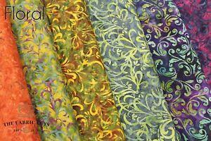 "Bali Indonesian Batik, Hand Printed Floral Range , 100% Premium Cotton, 44"" Wide"