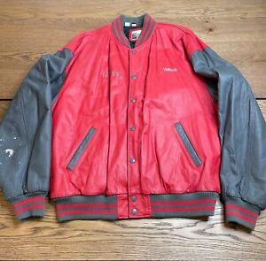 Vintage Yamaha Sports Wear Red Grey Leather Button XL Motorcycle Jacket Tom Kipp