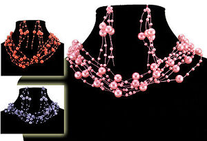 FAUX PEARL PINK, RED OR LILAC FLOATING CHOKER WITH MATCHING EARRING SET