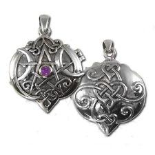 Dryad Designs Sterling Silver Heart Pentacle Locket with Amethyst by Paul Borda