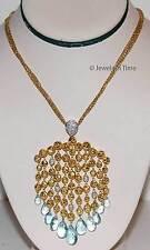 Ladies Necklace 18k Yellow Gold Diamonds & Aquamarines