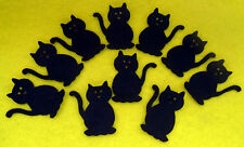 -:- 10x Black Cats -:- Felt Die-Cuts - Appliqués - Cardmaking - Halloween etc...