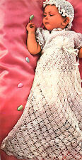 Vintage crochet pattern-how to make elegant lace baby christening gown & bonnet