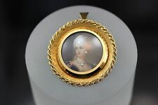 18k yellow gold CORLETTO ITALY Rare Antique diamond portrait pendant pin brooch