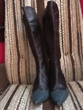 Carvela Leather Dark Brown & Green Wing Tip Knee High Boots US Sz 6 from London