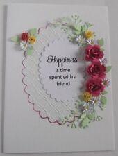 Personalised Handmade Birthday/Anniversary Card Flowers Pinks Roses and Daisies