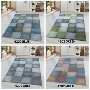 OTTOWA MODERN CHECKED BLOCKS DESIGN BLUE GREEN MULTI GREY SOFT RUG VARIOUS SIZES