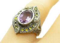 925 Sterling Silver - Vintage Amethyst & Marcasite Cocktail Ring Sz 7 - R12214