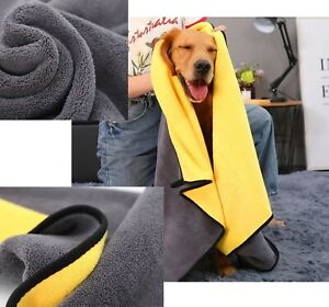 Pet Microfiber Absorbent Towel Dog Strong Quick Drying Two Sided Yellow Gray