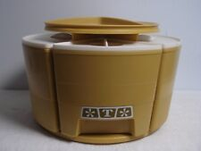 Vtg Rubbermaid Round carousel Lazy Susan Turntable havest gold Canister Set