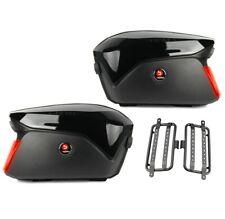 Motorrad Koffer + Kofferträger Seitenkoffer Universal PX74 LED schwarz C-Ware