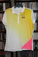 Nike Golf Jeg's NHRA High Performance Polo Shirt Pink Yellow XL  Ladies (bin95)