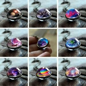 Glow in the Dark Galaxy System Necklace Pendant Double Sided Glass Dome Planet