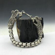 Old Tibet silver Copper Handmade twist-style creative Dragon Bracelet RN