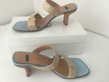 Casadei Beige / Blue Heels Shoes  Size 9.5 Italy