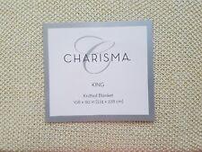 New Charisma Ivory Lurex Metallic Gold Knitted King Blanket
