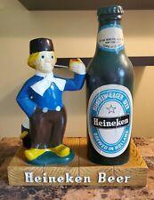 "Vntg Heineken Beer Sign figure statue bar display large 18"" dutch boy Man Cave"