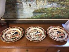 (3) 1911 Buffalo Pottery Gaudy Blue Willow Salad Or soup Bowl Antique Pottery