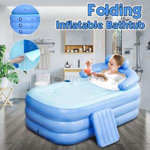 Inflatable Adult PVC Warm Bath Bathtub Foldable Indoor Bathroom Tub SPA Air Pump