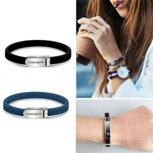 Sport  ANTI STATIC Titanium Ionic Magnetic Silicone Bracelet Band Wrist Strap