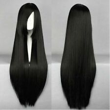 Black Long Straight Cosplay Costume Party Wig heat resistant Full Hair Wig+Cap
