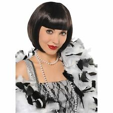 Flirty Black Flapper Charleston Wig Short Bob 20's Womens Fancy Dress Costume