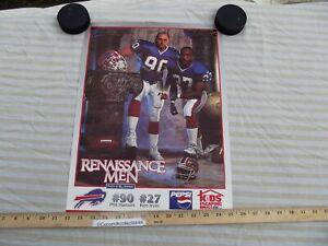 Vintage 1990's Buffalo Bills Poster Renaissance Men Phil Hansen Ken Irvin NFL