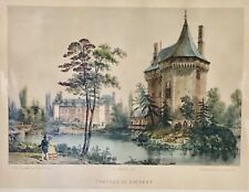 Antique Chateau De Thevray Normandy France Hand Colord Benoist Lithograph Matted