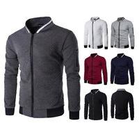 Men Casual Jacket Coat Adult Cotton Zipper Bomber Slim Fit Baseball Outwear Tops