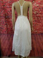 RAGA DRESS Boho Cotton Crochet Racerback White Women's Size XSMALL
