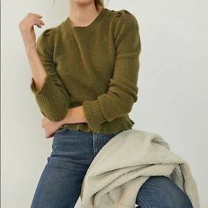 ANTHROPOLOGIE New XL Drea Cropped Sweater Green
