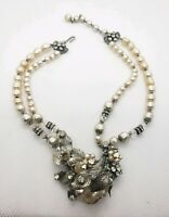 Vintage Miriam Haskell Baroque Pearl Rhinestone Flower Choker Necklace