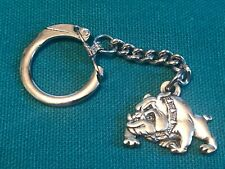 Vintage Bulldog Key Chain Silver Colored