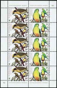 Australia 1675-1678a sheets,MNH. WWF 1998.Endangered Birds.Honey eater,Parrot