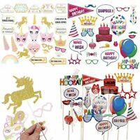 22-30 Unicorn/Birthday Girls/Boys Photo Booth Party Props Selfie Decorations Set