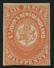 Newfoundland 1857 Pence 6 1/2d scarlet vermillion #7 Mint - BPA cert