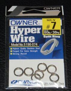 Owner 5196-074 Black Chrome Split Rings - Size 7 - 80lb Test Pack of 7