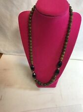 Necklace 16 Inch Brown Tone With Black Accents Manufactured Large Stones P – 33+