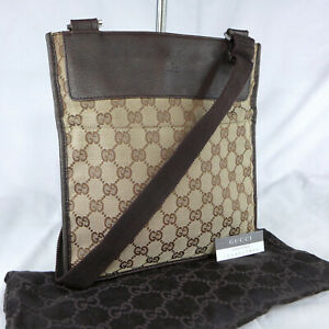 Authentic Vintage Gucci Brown GG Canvas Crossbody Messenger Shoulder Bag Purse