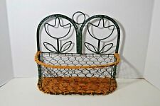Basket Wicker Metal Boho Wall Hanging Decor Tulip Flower Design Shabby Chic Euc!