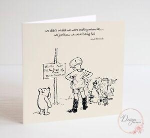 WINNIE THE POOH - Quote Friendship - Anniversary, Birthday Card Valentine's Card