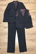 Next Mens Grey Check 3 Piece Suit Jacket 38R Trousers 32R Waist 38R Slim Fit
