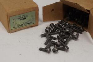 "288 New Old Stock USA Made #4-32 x 5/16"" Slotted Round Head IRON Machine Screw"