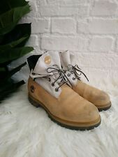 Timberland Roll Top Boots Size UK 7 EU 41 US 7.5W Wheat Beige Leather Off White
