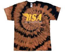 BSA Motorcycles Tie Dyed T-Shirt Sz L, New Bleached Distressed Vintage Look OOAK