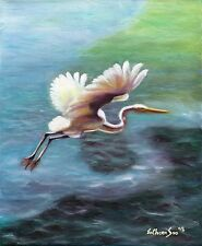 Original Oil Painting of Snowy Egret - Born To Fish, 8x10in, Framed, Signed